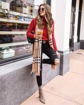 sweater,turtleneck sweater,plaid,heel boots,scarf,black ripped jeans,gucci belt,black bag