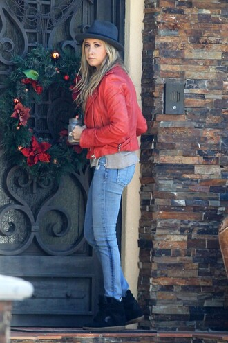 jacket ashley tisdale jeans shoes hat