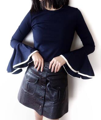 top tumblr blue top bell sleeves ribbed top skirt mini skirt leather skirt black leather skirt button up button up skirt