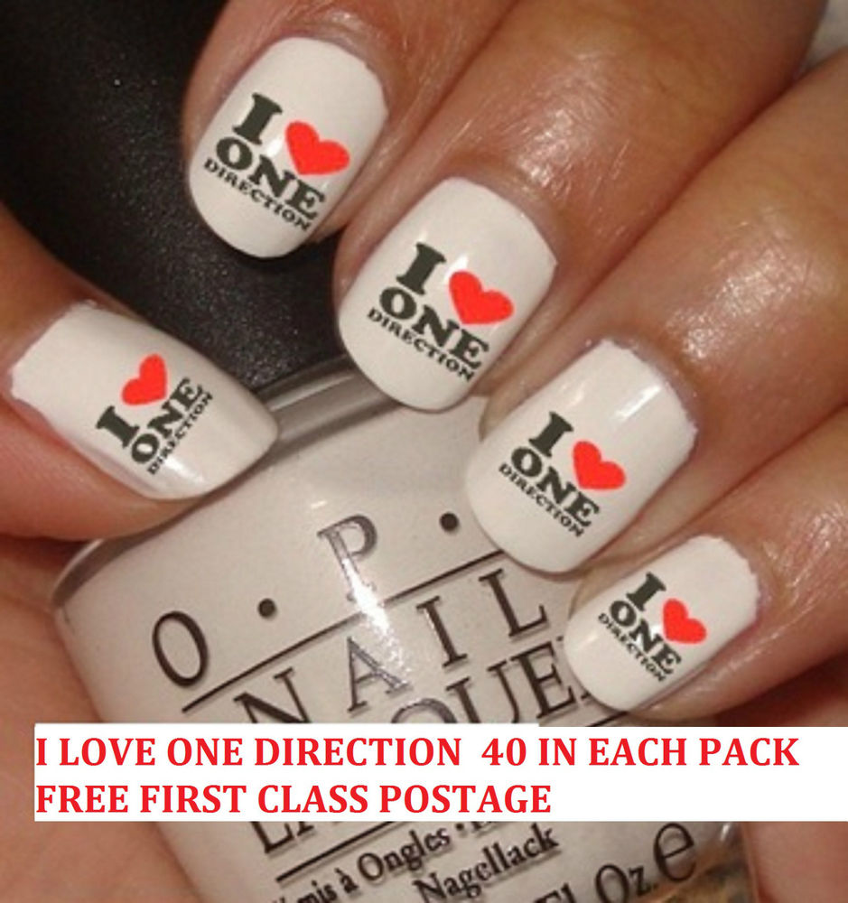 OF 40 NAIL ART WATER TRANSFER DECALS WRAPS STICKERS I LOVE ONE ...