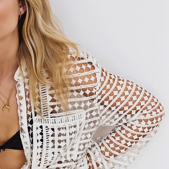 jacket white white jacket boho chic indie boho bohemian lace tumblr summer spring clothes cover up boho horn gold jewelry