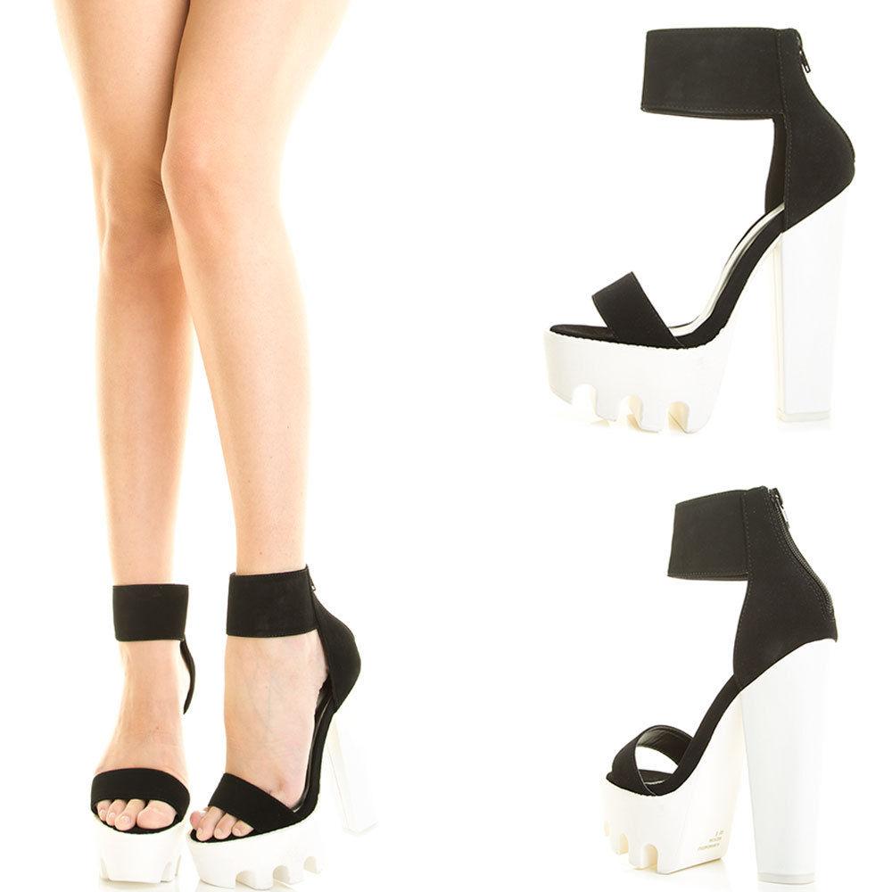 Black Open Toe Ankle Strap Cuff Chunky Heel Lug Sole Platform Pump ...