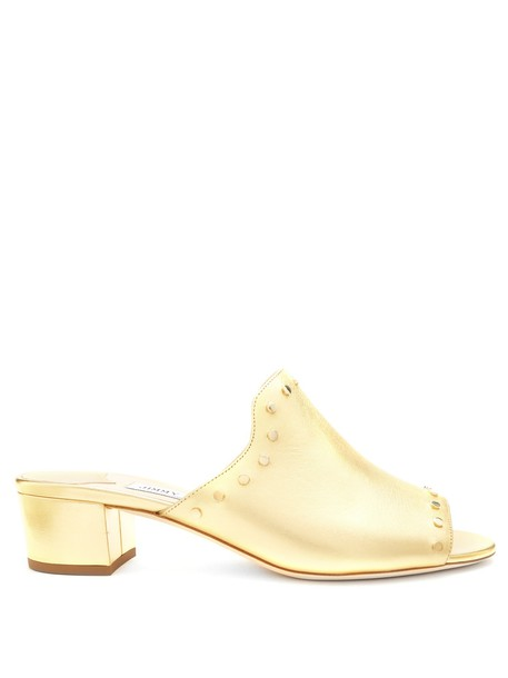 Jimmy Choo embellished mules leather gold shoes