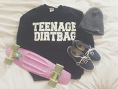 sweater,beanie,penny board,vans,shoes,black,sweatshirt,teenage dirtbag,shirt,soft grunge,summer,grey t-shirt,cute outfits,streetwear,black sweater,skateboard,skater