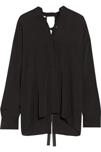 blouse back open black silk top