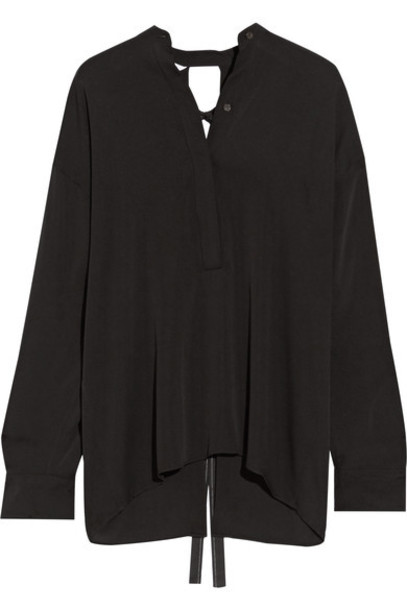 Helmut Lang blouse back open black silk top