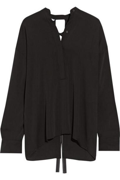 Helmut Lang - Open-back Stretch-silk Blouse - Black