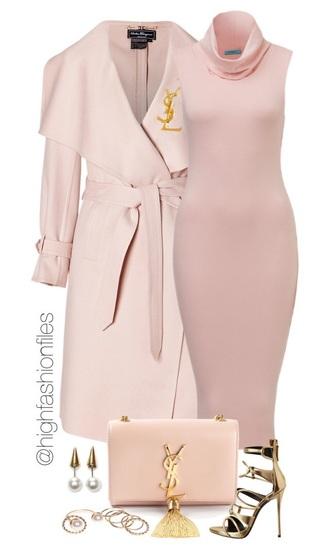 dress pink yves saint laurent bodycon dress turtleneck turtleneck bodycon dress