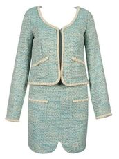 green tweed,green dress suit,two-piece,tweed dress,tweed dress set,short coat dress,www.ustrendy.com