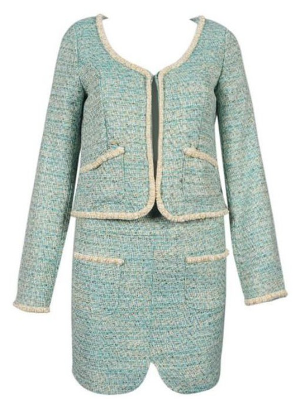 green tweed green dress suit two-piece tweed dress tweed dress set short coat dress www.ustrendy.com