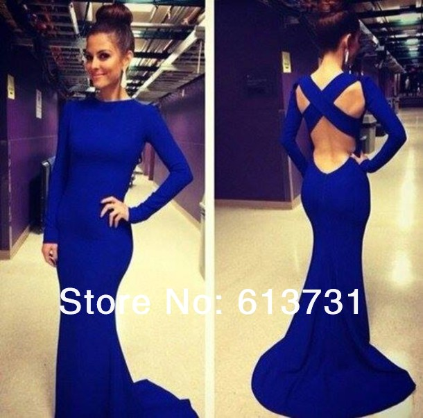 Aliexpress.com : buy 2014 sexy robe de soiree high neck long sleeve criss cross backless royal blue evening gown sexy mermaid prom dresses bo5960 from reliable dress stud suppliers on suzhou babyonline dress store