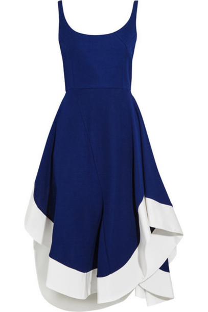 Esteban Cortazar - Asymmetric Satin-trimmed Jersey Midi Dress - Royal blue