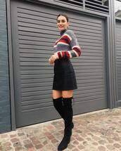 skirt,black skirt,mini skirt,high waisted skirt,thigh high boots,suede boots,black boots,sweater,knitted sweater,striped sweater,hoop earrings