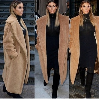 coat camel coat longline coat kim kardashian fashion hooded fall outfits winter coat fluffy