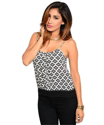 Black & white & geometric all over top