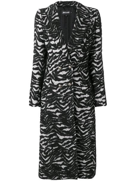 just cavalli coat long women animal cotton print black animal print
