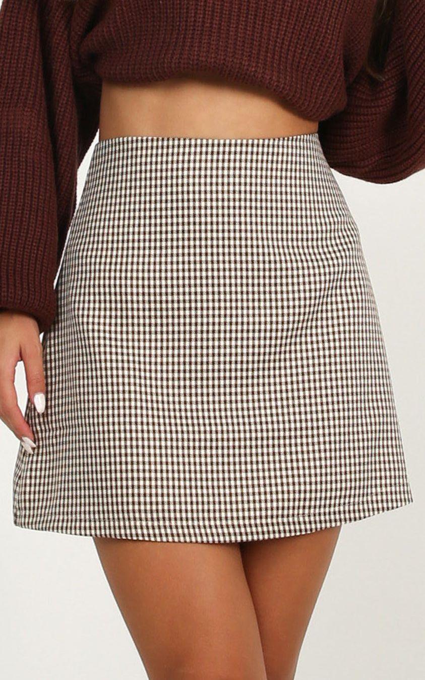 Showpo Replaying Conversations Skirt In chocolate check - 6 (XS) Mini