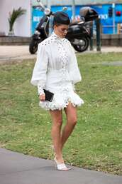shoes,sofia richie,model off-duty,white,white dress,mini dress