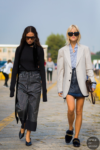 styledumonde blogger skirt sweater shirt shoes bag pants scarf sunglasses jacket tumblr stripes striped pants cropped pants black shoes babouches top black top blazer grey blazer mini skirt leather skirt girl squad black leather skirt zipped skirt blue shirt furry shoes streetstyle