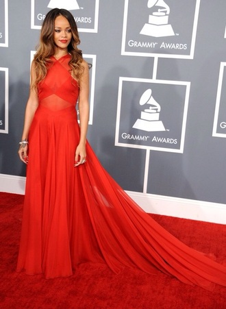 dress rihanna red dress red lipstick grammy awards gorgeous pretty formal dress