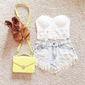 top,shorts,white,denim,brown,shoes,purse,bag,lace,white lace top,yellow bag,blouse,light ribbed shorts,shirt,tank top