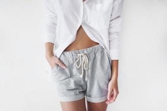 pants grey white white/grey pajamas shorts soft shirt cozy grey sweatpants