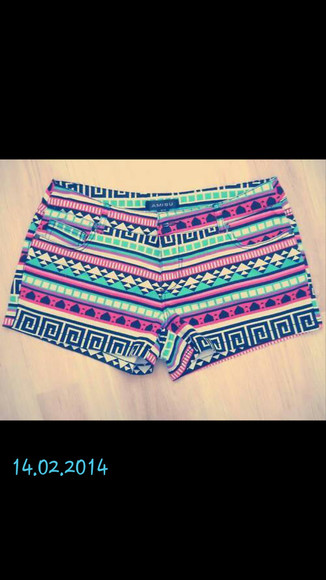 shorts neon bright tribal pattern amisu
