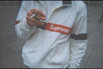 jacket supreme mens jacket menswear white red windbreaker windrunner