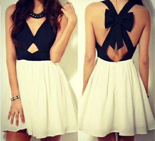 Neck with key hole sleeveless crisscross back big bow short homecoming party dress cheap online with $55.5/piece
