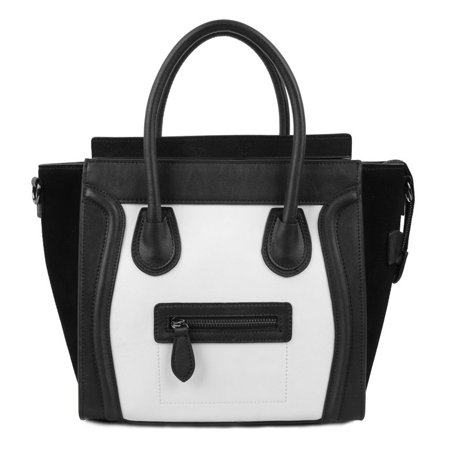 Amazon.com: EcoCity Women's Genuine Leather Europe Bats Phantom Smiling Face Handbag Purse (S3-White (Medium)): Shoes