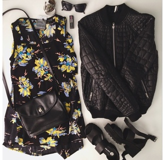jacket outfit black leather shoes bomber jacket snake skin skin floral urban street streetwear black jacket top leather jacket sunglasses topshop bag heels black heels quilt quilted