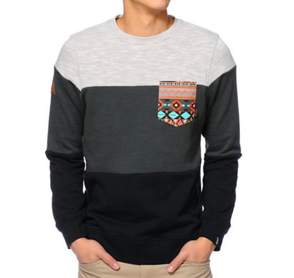 Dravus Palmetto Charcoal \u0026 Black Pocket Crew Neck Sweatshirt at Zumiez  PDP