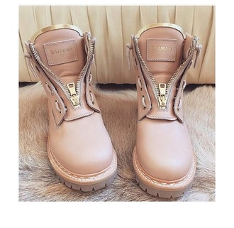 shoes balmain boots zip timberland fashion boots nude pink tan urban pastel pink urban beige rose combat boots zipper boots nude shoes warm bailman hot paris rose perfect gold