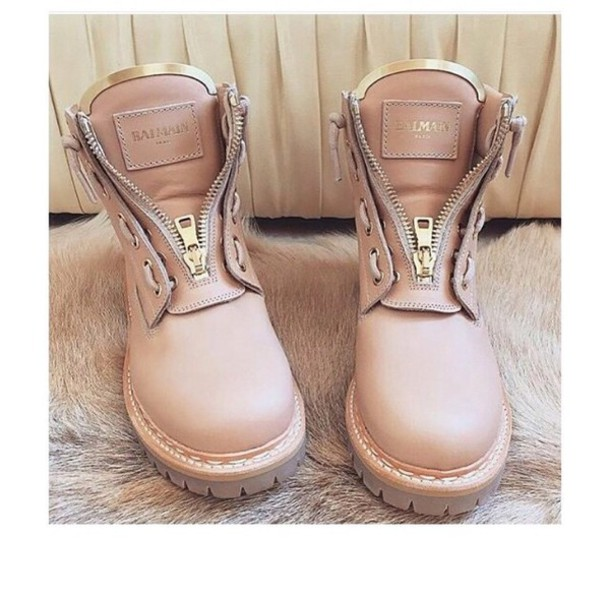 Shoes: balmain, boots, zip, timberland, fashion boots, nude, pink ...