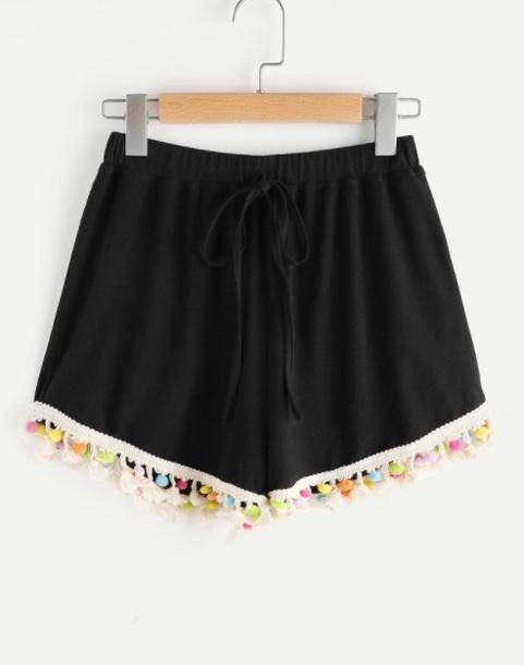 shorts girly black pom poms pom pom shorts