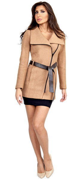Soia & kyo drew camel fitted wool jacket with belt at waist