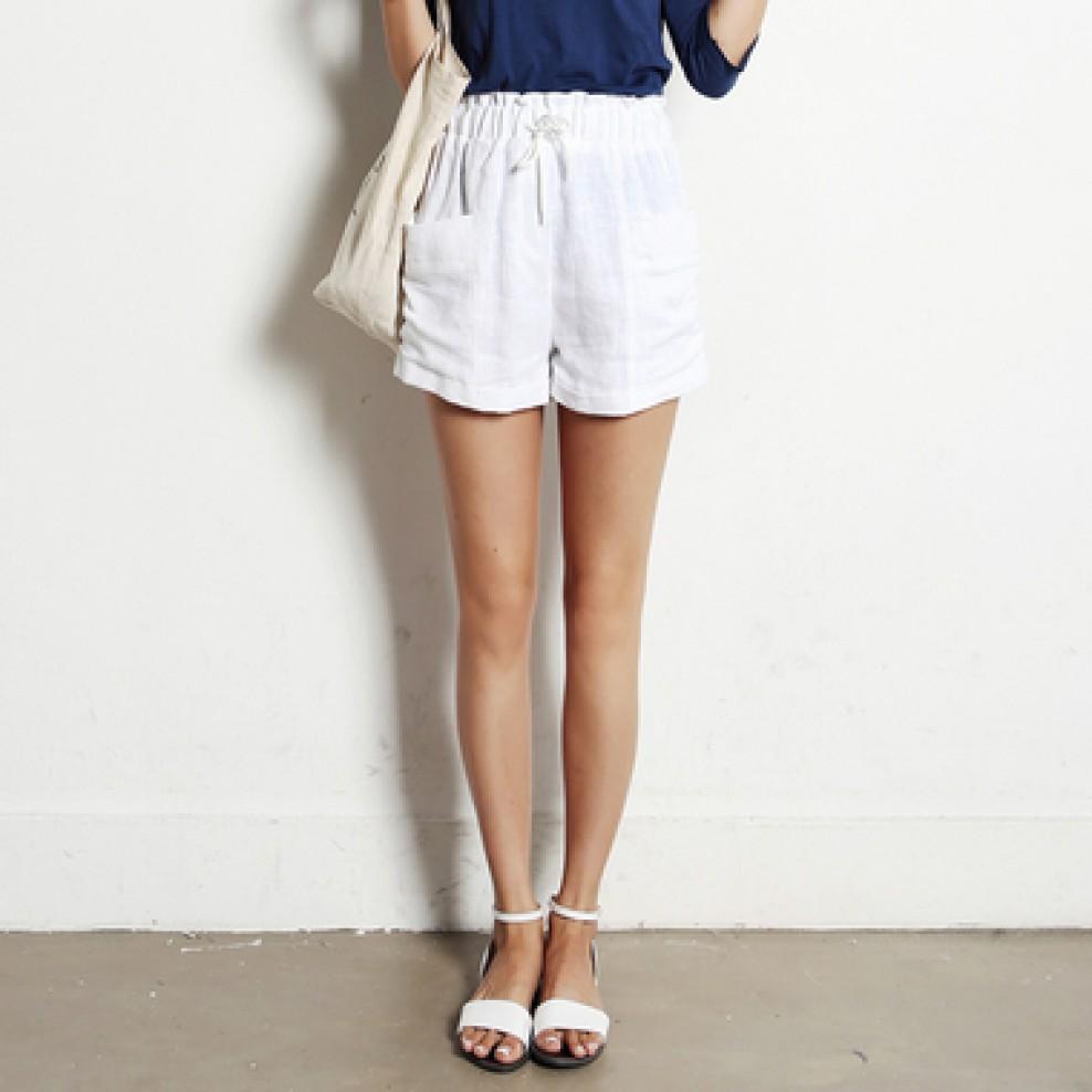 Linen pocket shorts
