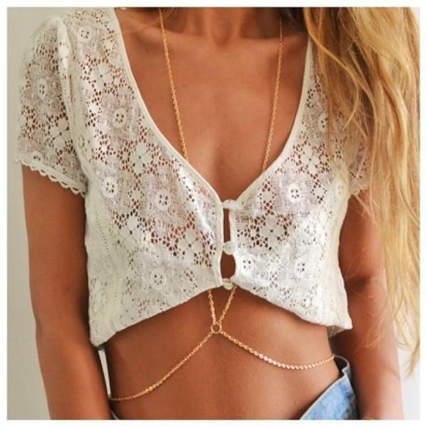 jewels body chain lace shirt