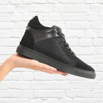 shoes maniere de voir sneakers trainers snake pony fur mid top black suede