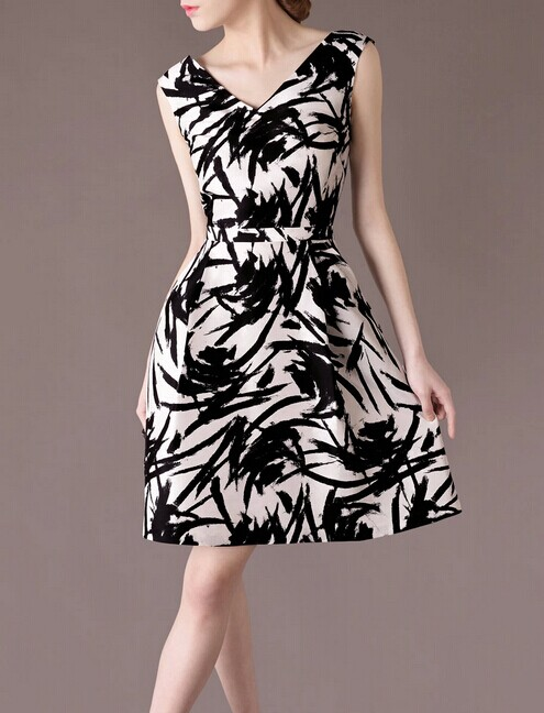 Silk Ink Printed Elegant Noble Summer OL Loose Women Fashion Dress lml7095 - ott-123 - Global Online Shopping for Dresses