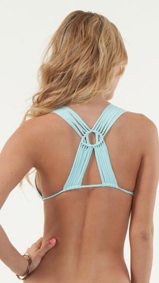 swimwear bikini blue bikini bikini top strappy bikini triangle bikini
