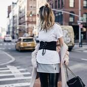 belt,nude cardigan,hun,tumblr,corset belt,t-shirt,white t-shirt,cardigan,pants,black pants,vinyl,black vinyl pants,bag,black bag,chain bag,hair,blonde hair