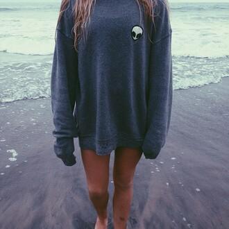 sweater alien sweatshirt grey gray