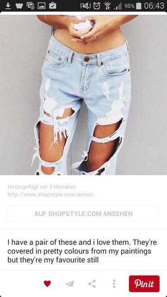 jeans light blue jeans destroyed boyfriend jeans