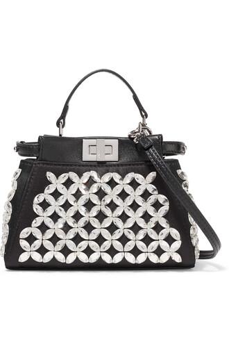 embellished bag shoulder bag satin silver black
