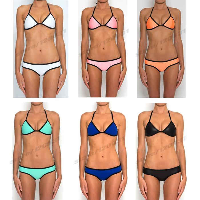 New arrive 2014 sexy triangl neoprene tie push up bathing suit women bikinis swimsuit set ladies swimwear monokini free shipping