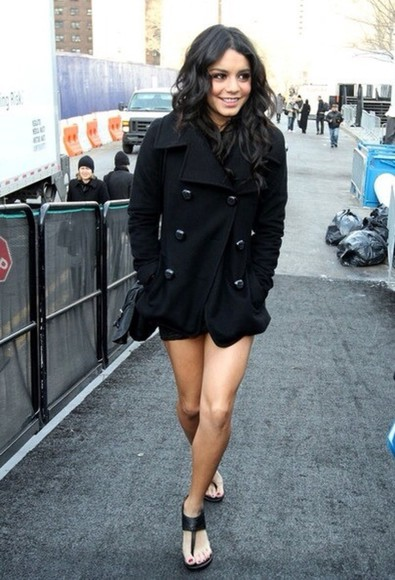 autumn, winter black coat winter coat vanessa hudgens pea coat black coat