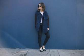 take aim blogger blue coat skinny pants loafers