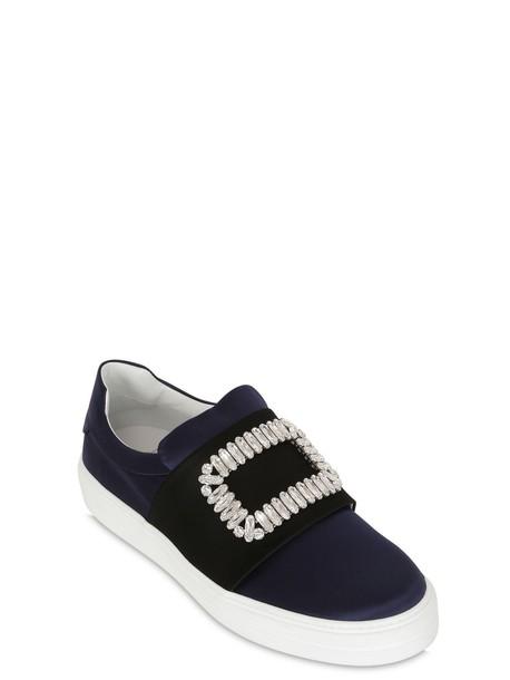 sneakers silk satin navy black shoes