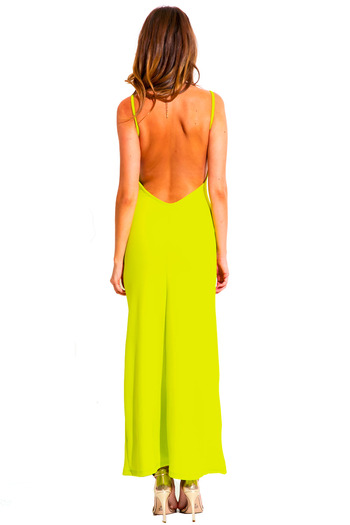 Chartreuse lime green v neck textured backless spaghetti strap fitted formal evening cocktail party maxi dress